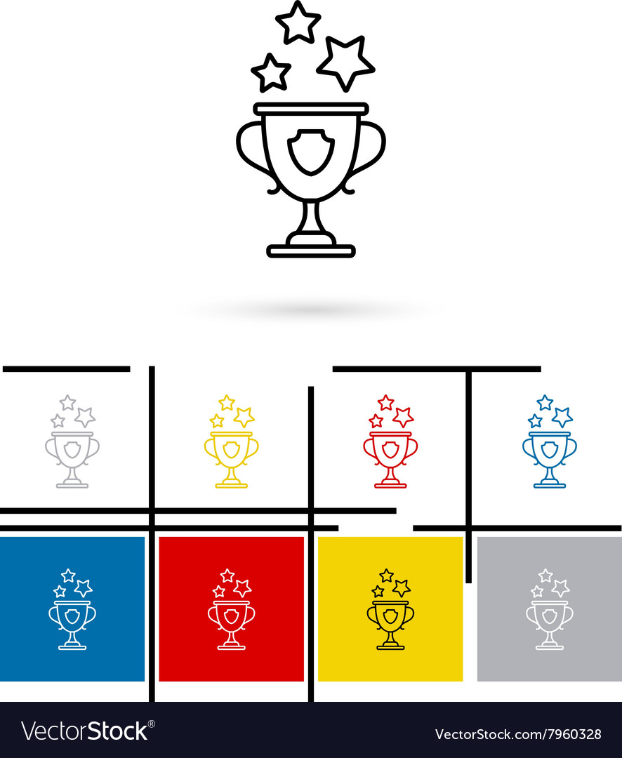 Win cup line icon vector