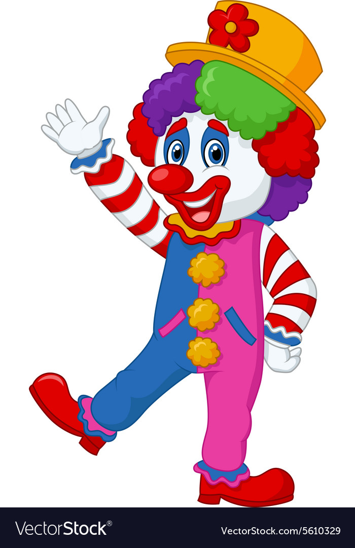Cartoon clown waving hand vector