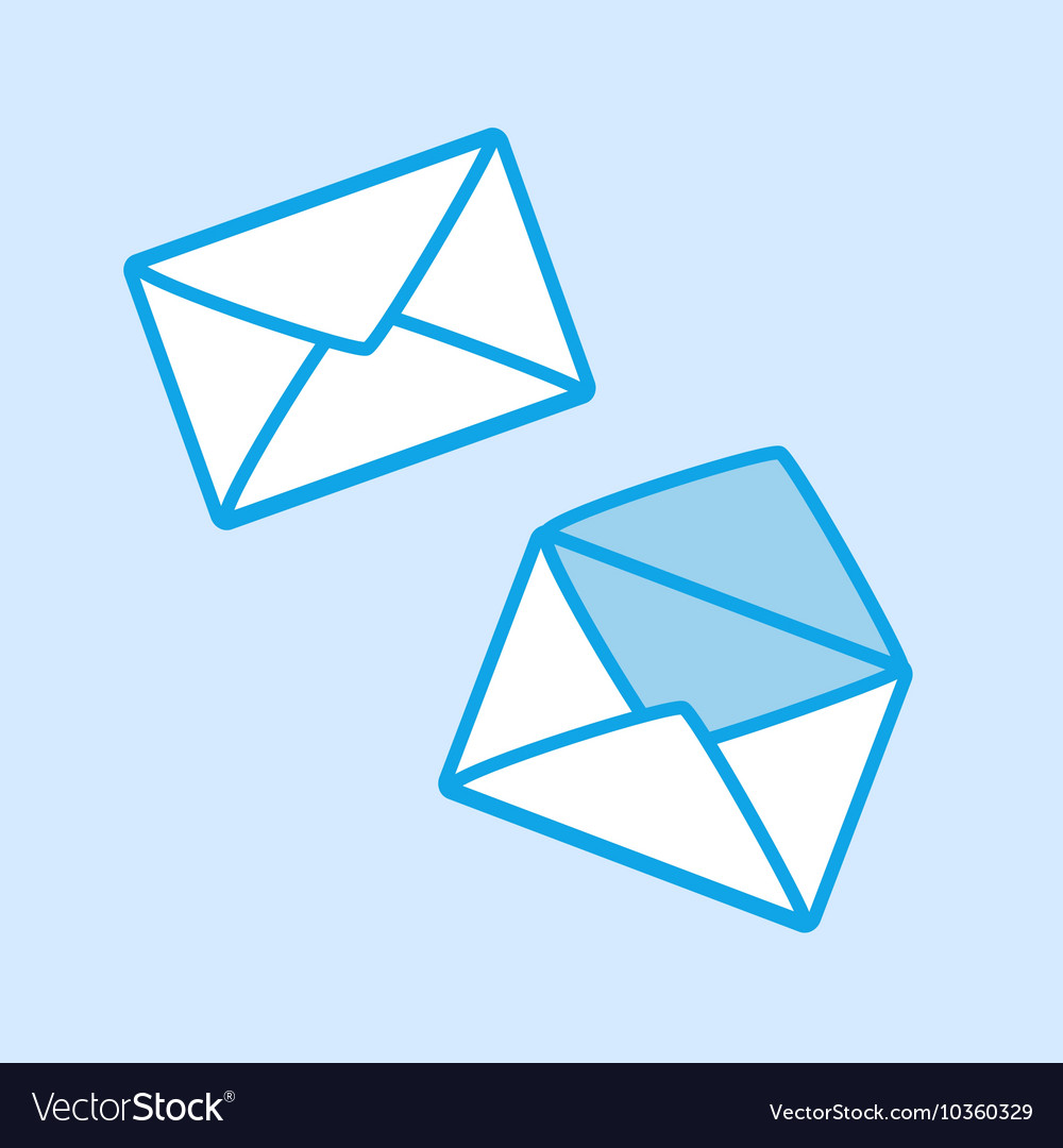 Envelope icon simple blue vector