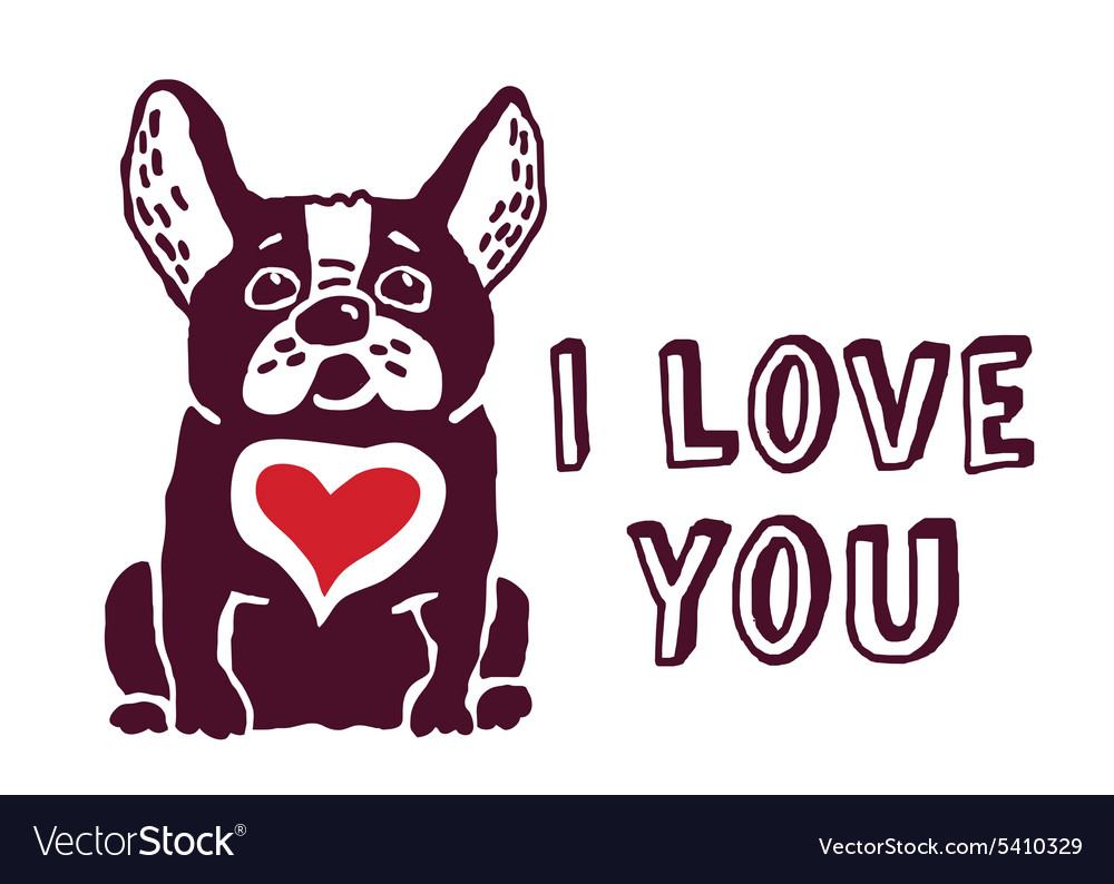 I love you cute dog red heart card vector