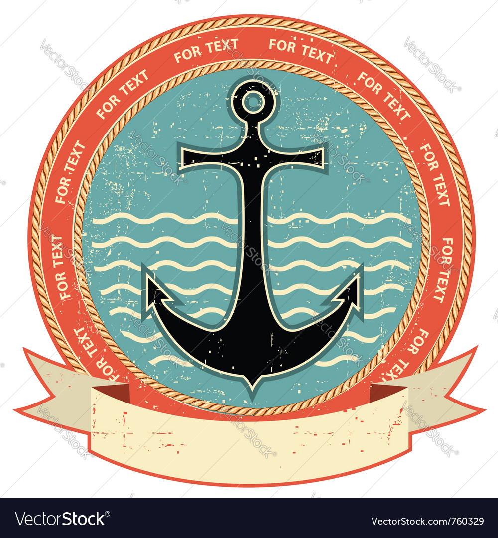 Nautical anchor vintage vector
