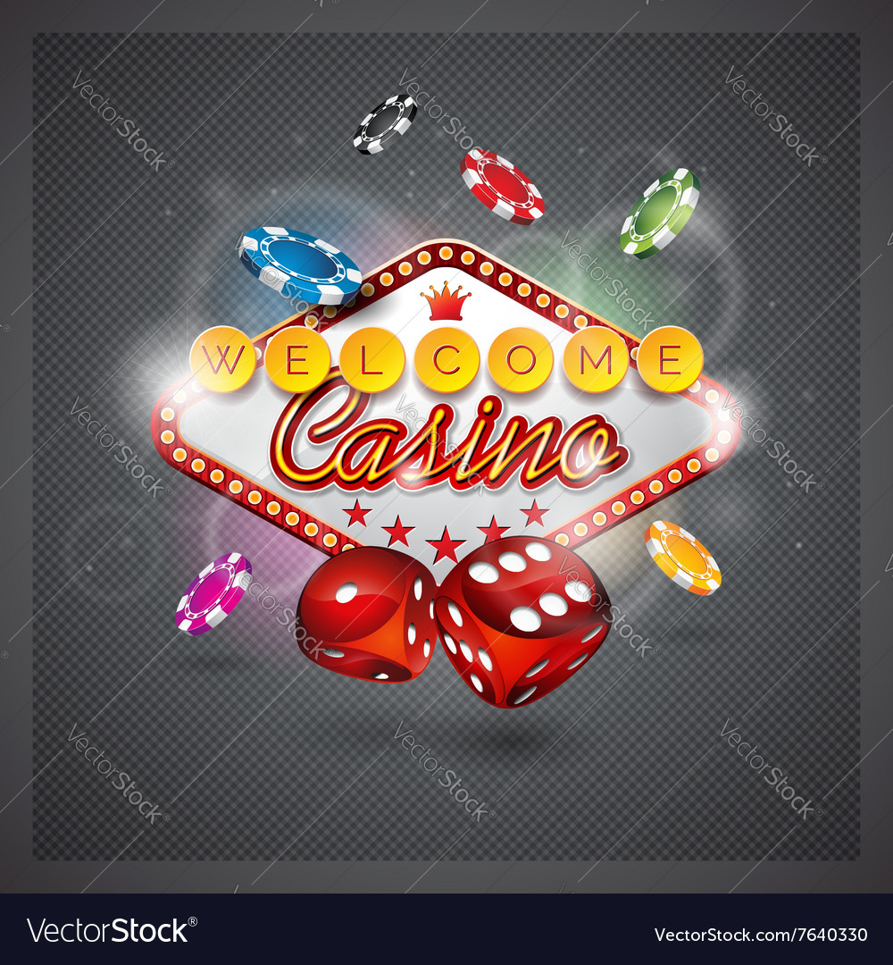 Casino with lighting display and dice vector