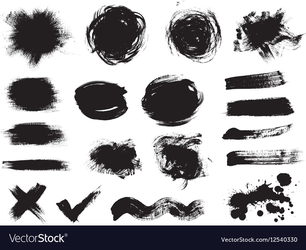 Set of dark blots on the white background vector