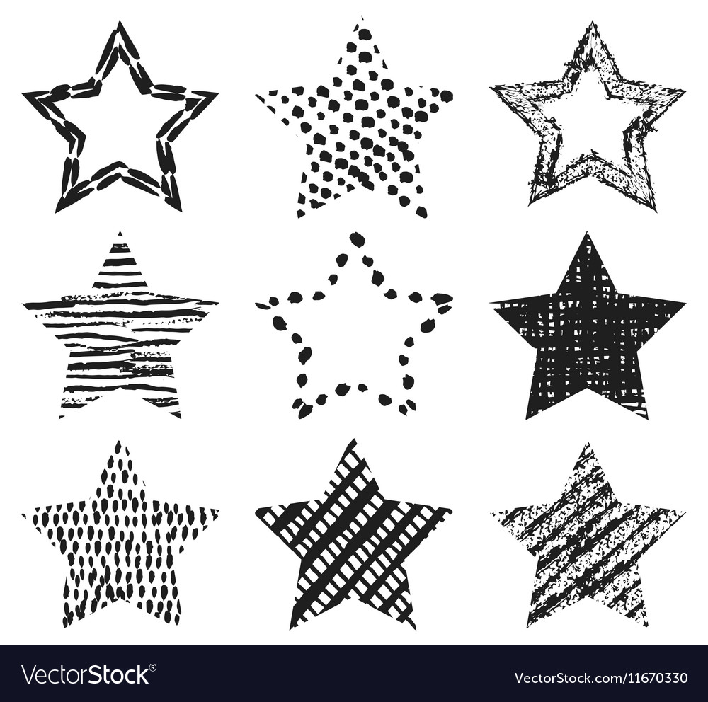 Set of handdrawn textures star shapes vector