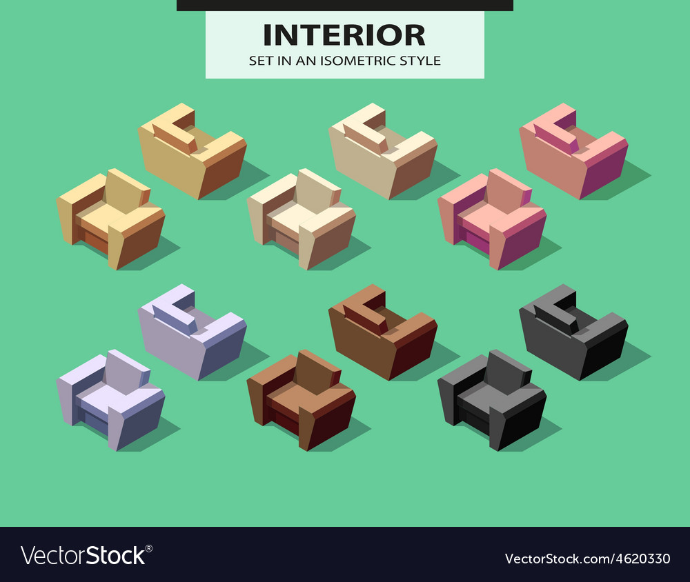 Set of isolated chairs with shadow in isometry vector