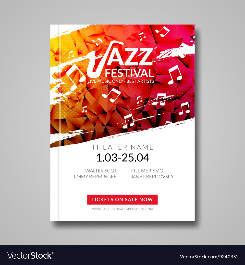 Musical flyer jazz festival music vector
