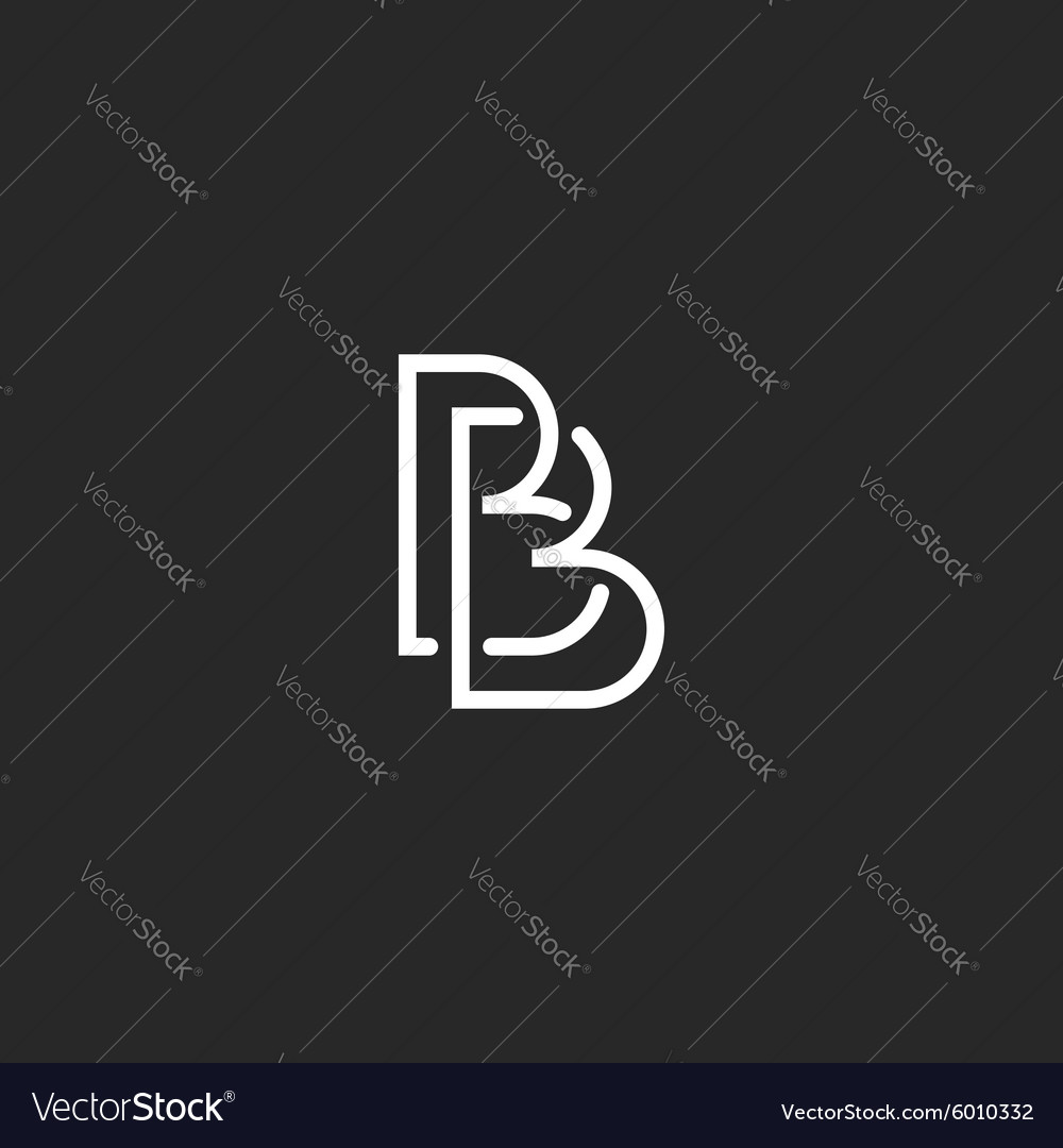 Letter b monogram logo intersection thin line vector