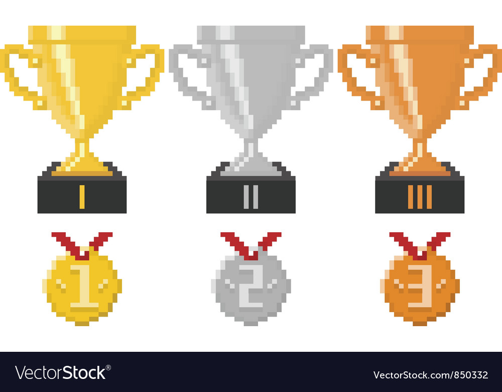 Pixel trophy cups and medals vector