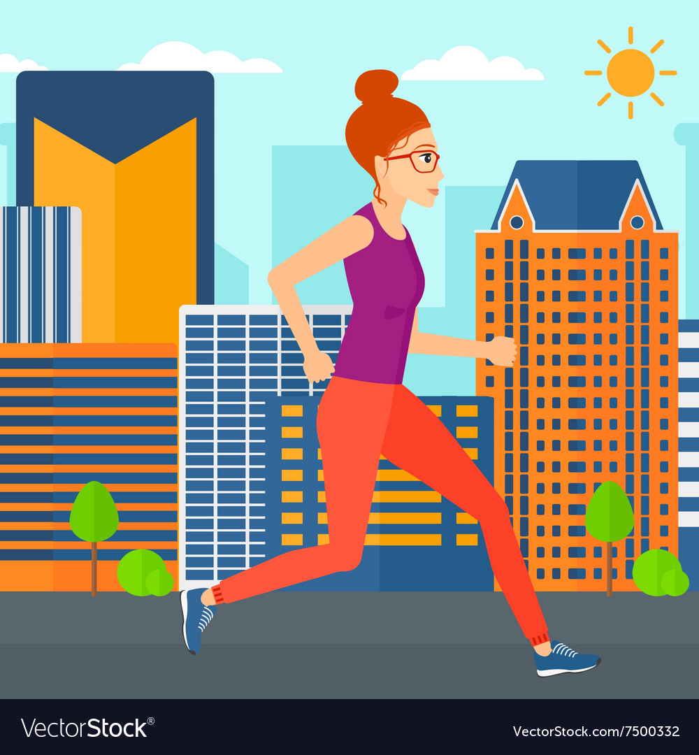 Sportive woman jogging vector
