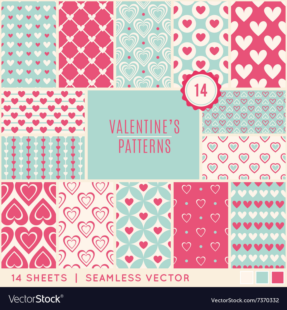 Valentine day seamless pattern vector