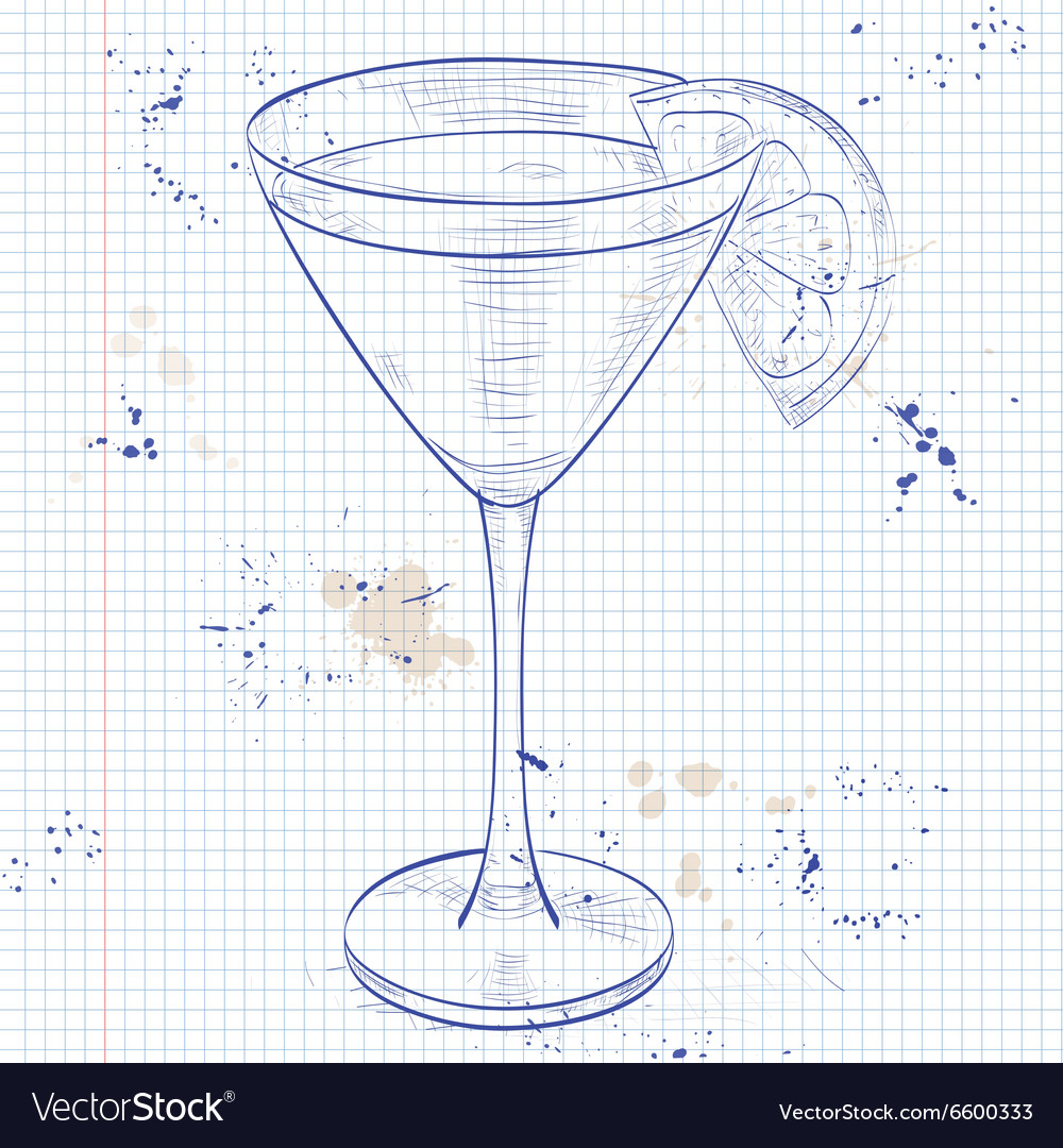Cocktail monkey gland on a notebook page vector