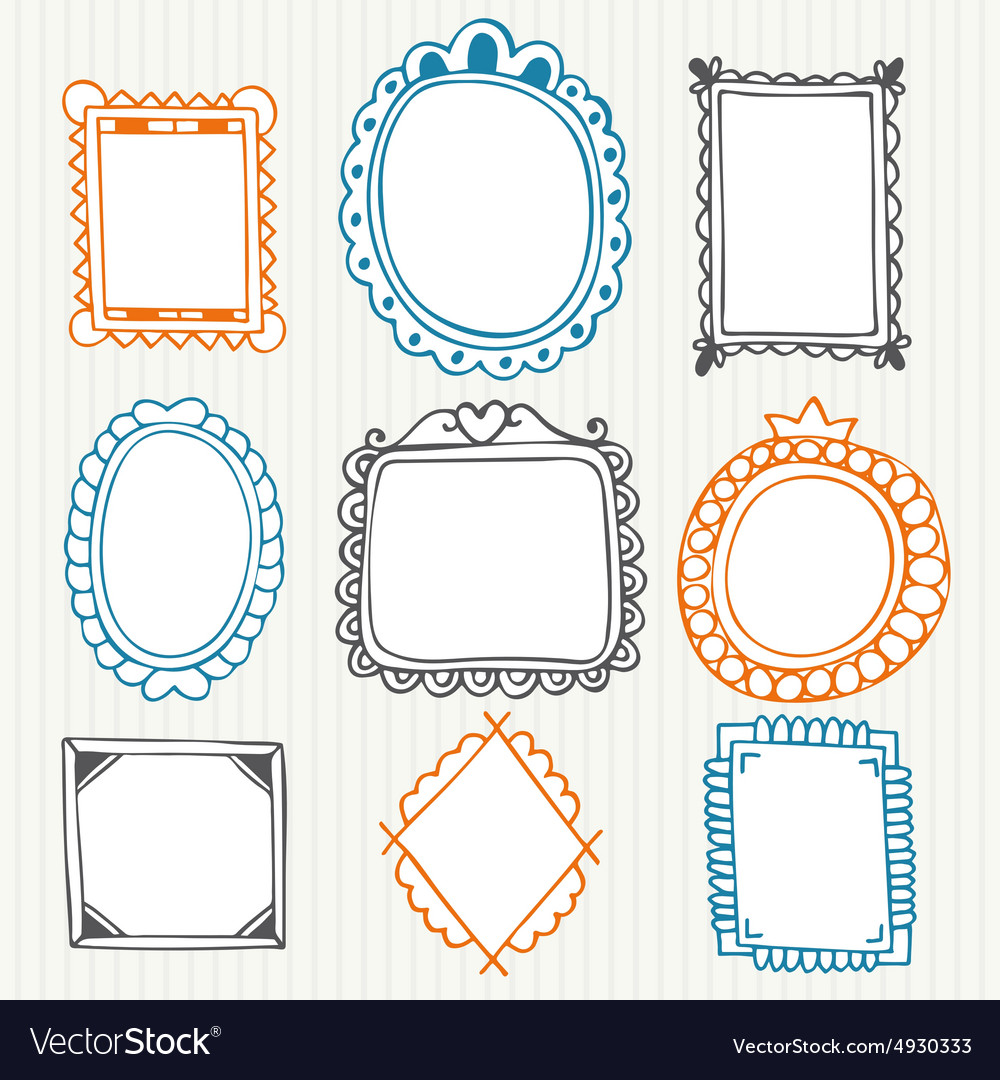 Vintage photo frames hand drawn collection vector