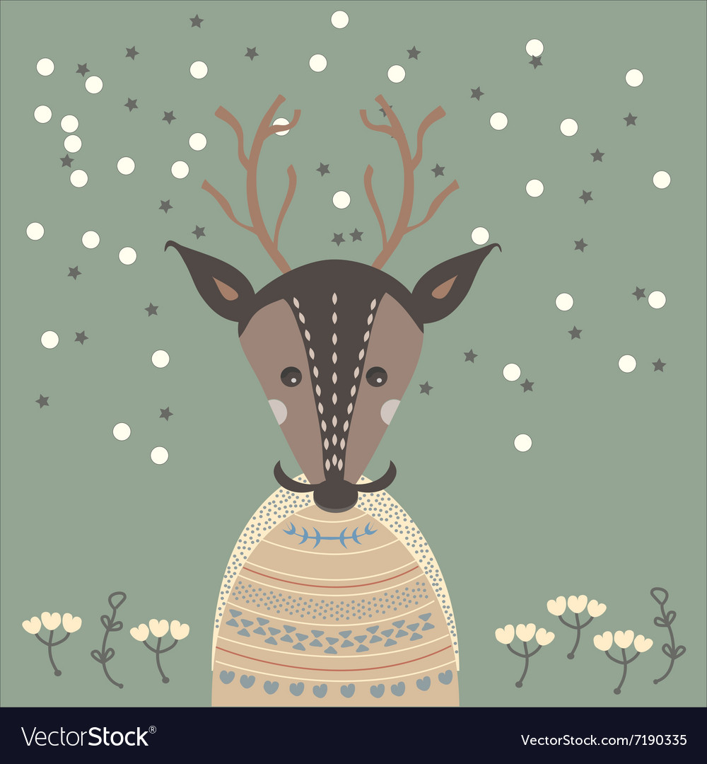 A deer in sweater vector