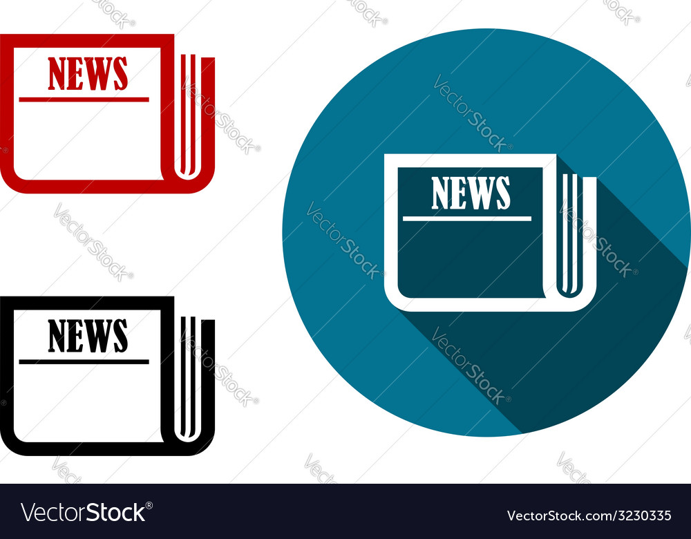 Flat round news icon vector