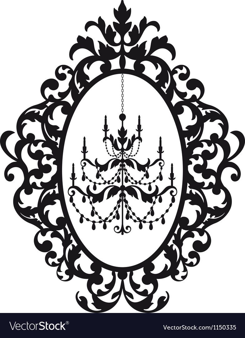 Picture frame with antique chandelier vector