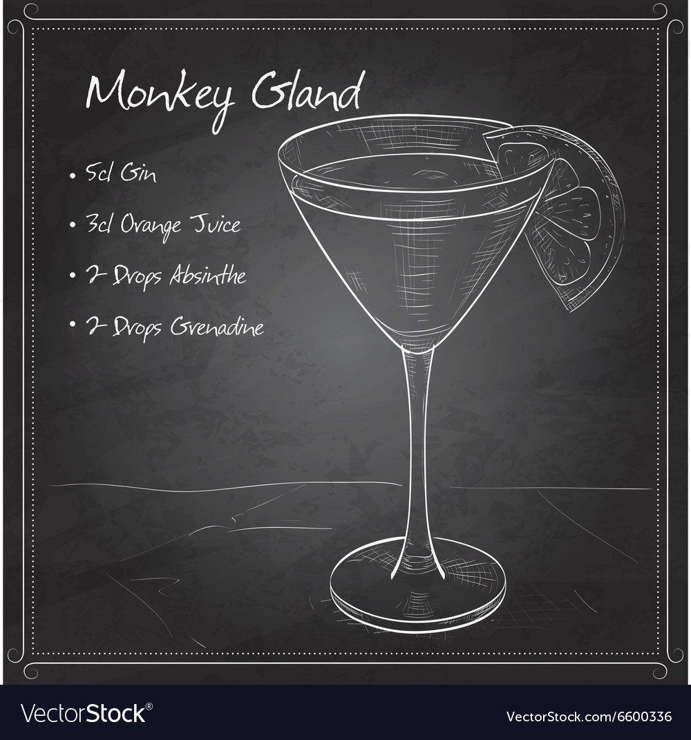 Cocktail monkey gland on black board vector