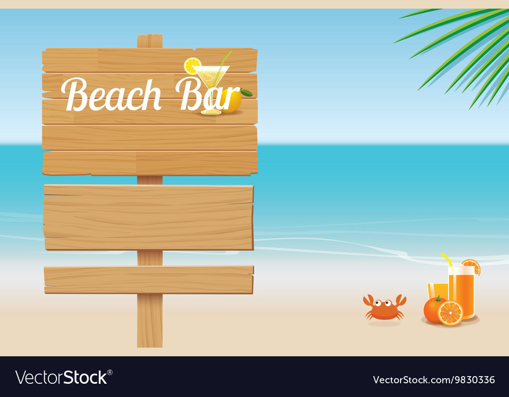 Summer wooden sign on tropical beach background vector