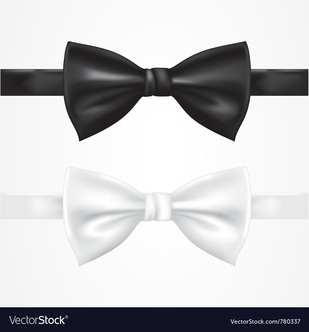 Black and white bow tie vector