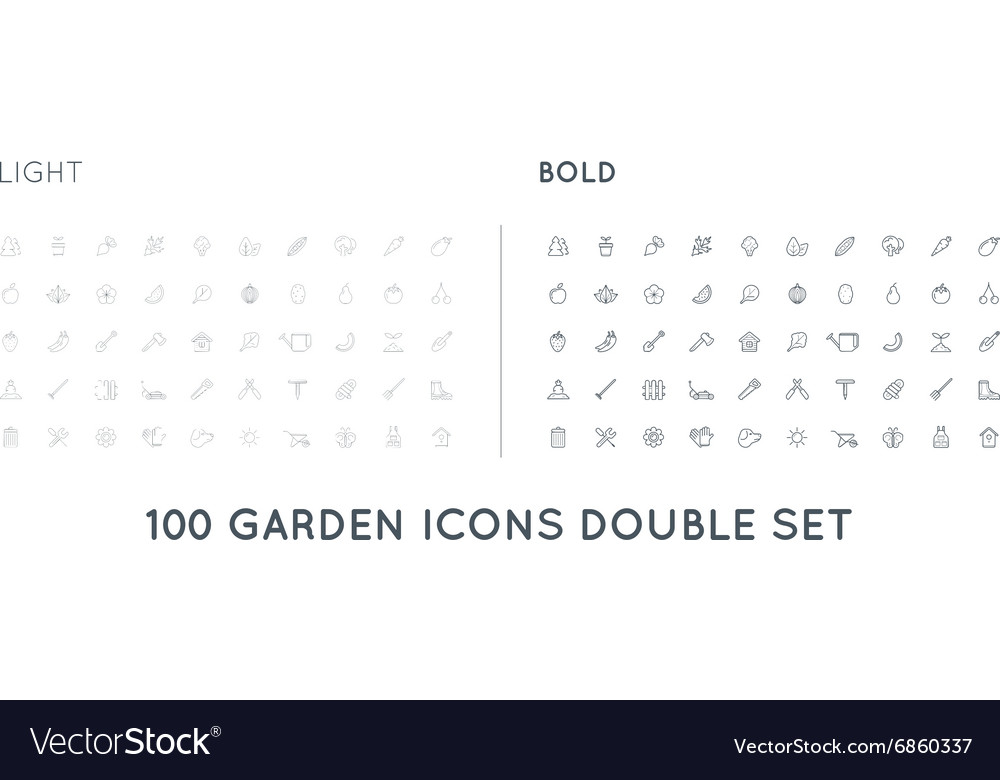 Set of thin and bold garden and farm elements and vector
