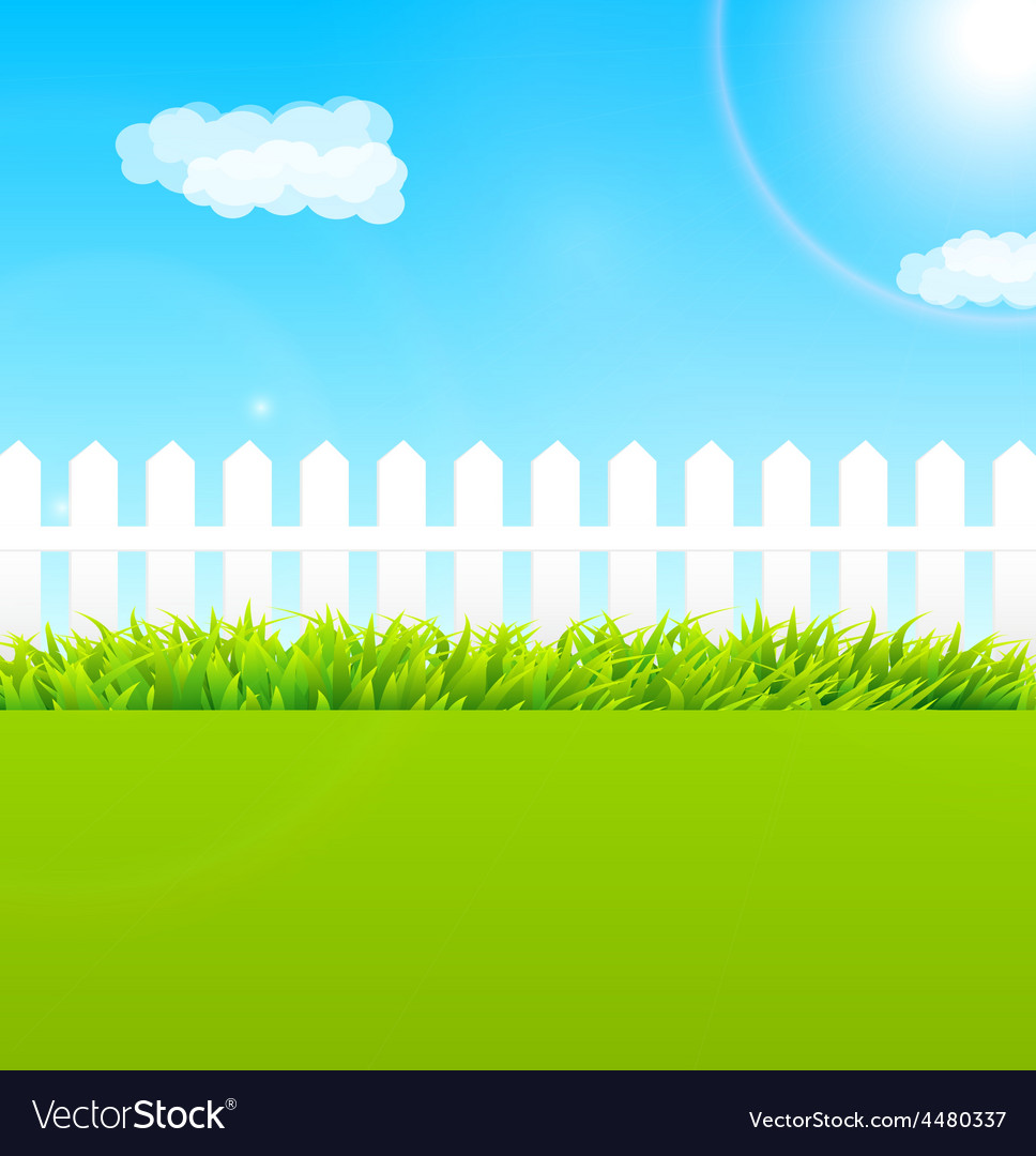Summer garden scene with wooden fence and blue sky vector