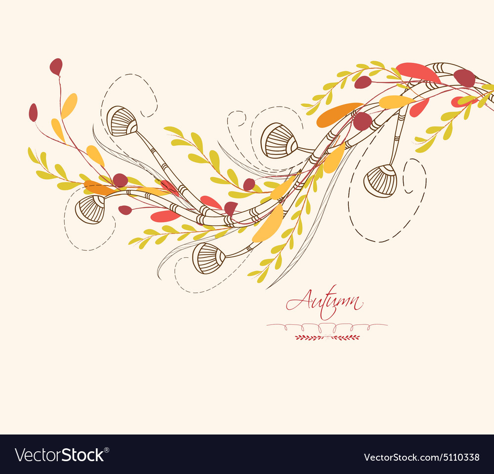 Background of autumn leaves greeting cards vector