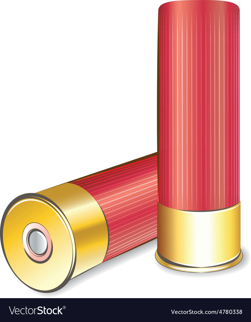 Shotgun shell on white background vector