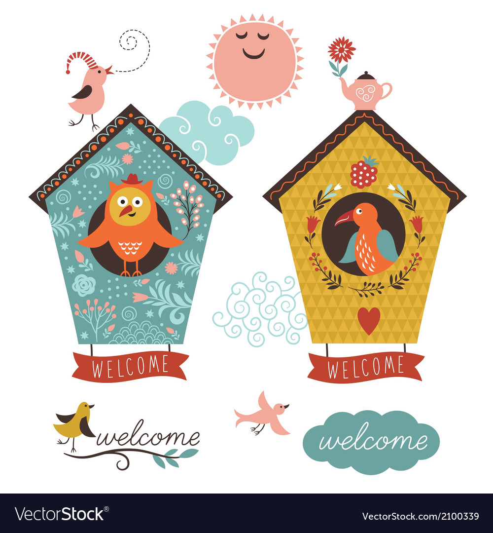 Birdhouses and welcome home lettering vector