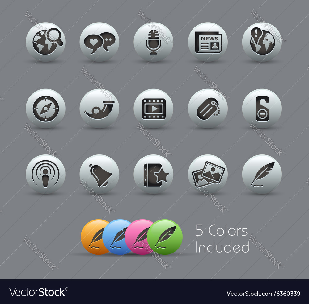 New media icons pearly series vector