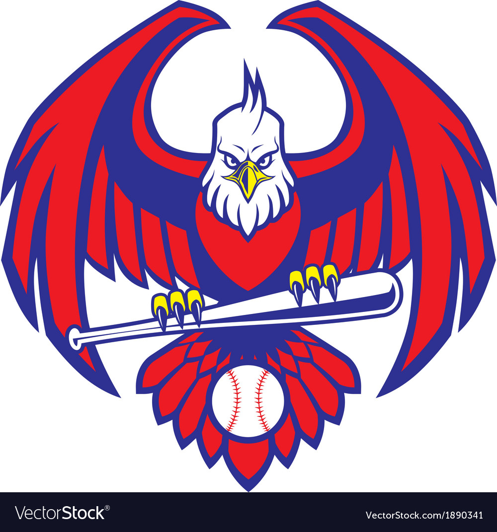 Eagle baseball mascot vector