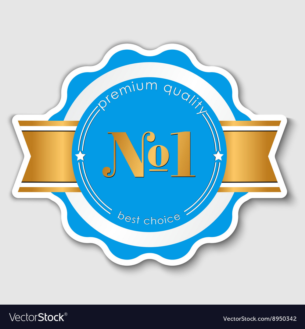 Quality sticker with gold ribbon vector