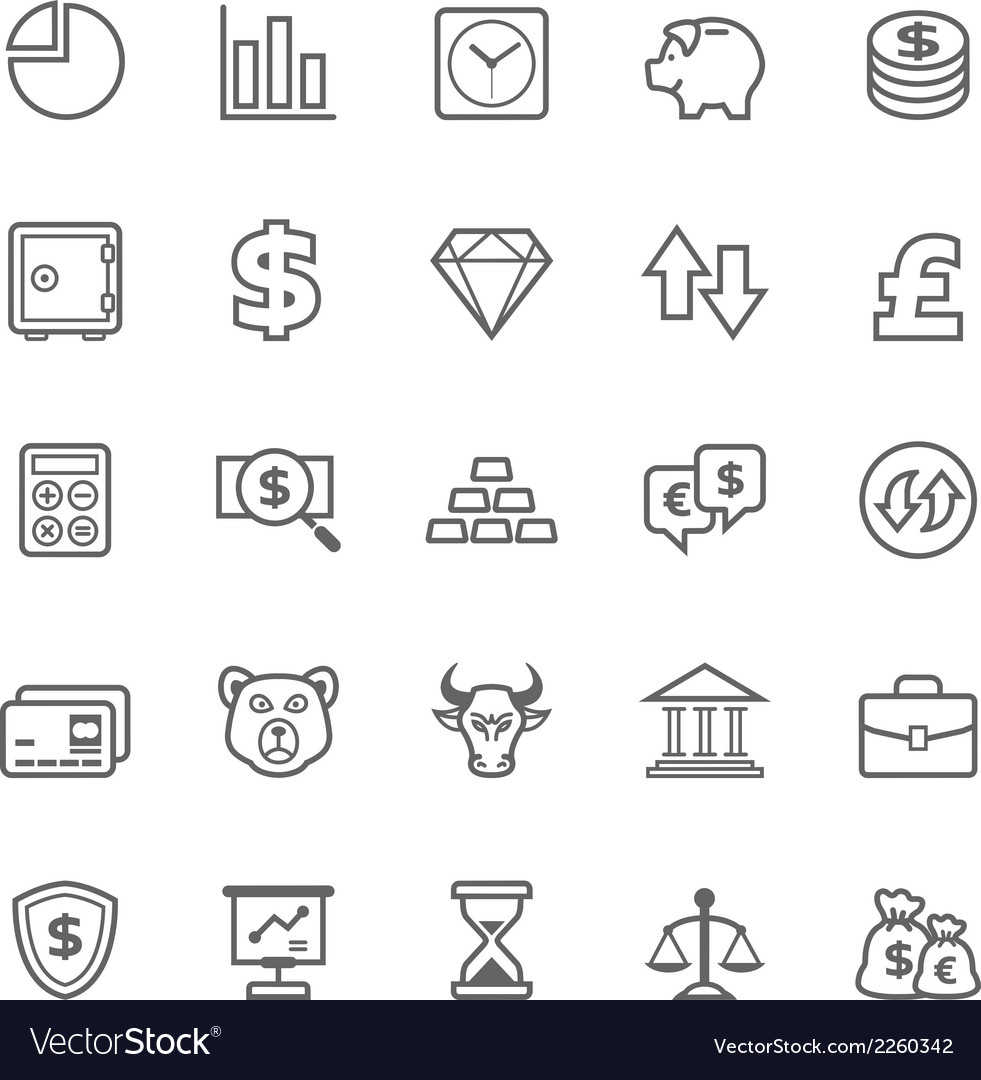 Set of outline stroke finance and stock icon vector