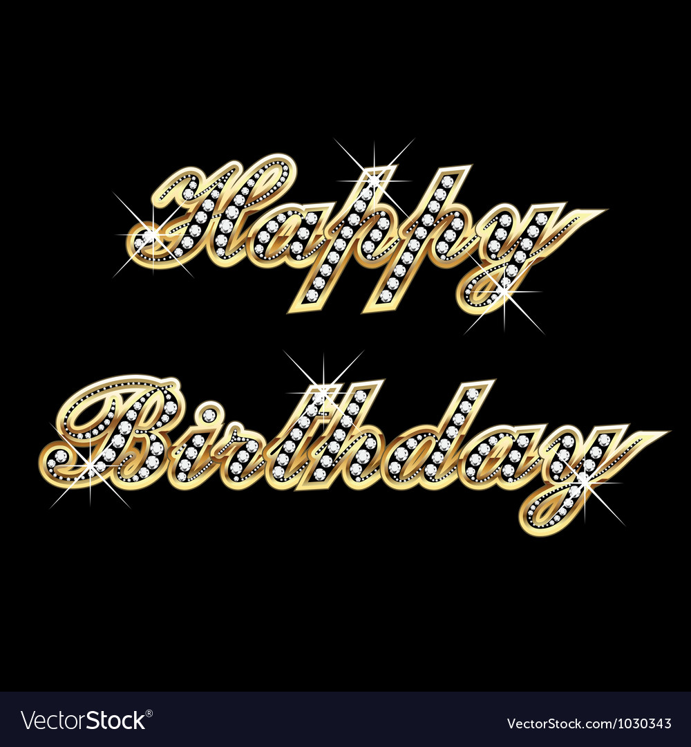 Happy birthday in gold with diamonds vector