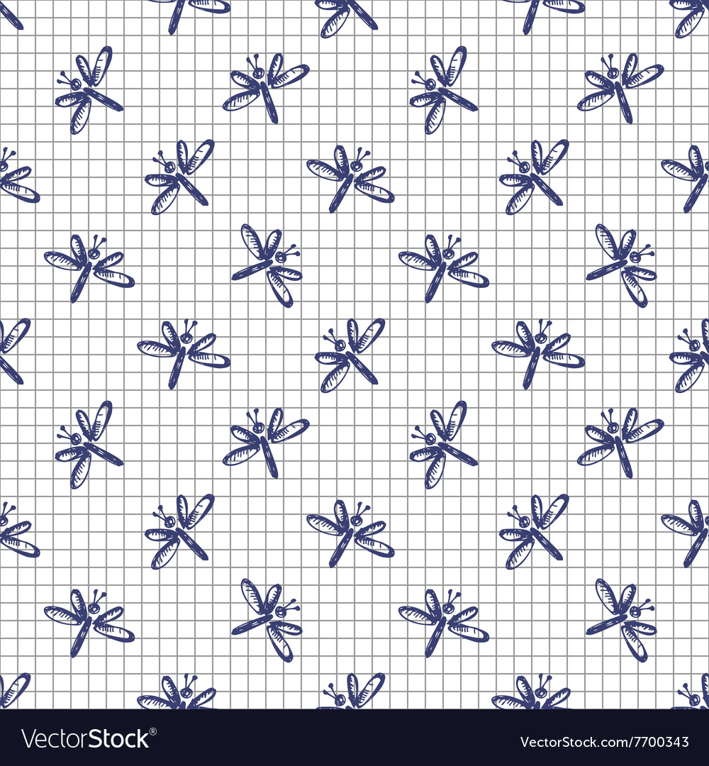 Pattern with cute dragonflies on the chekered pape vector