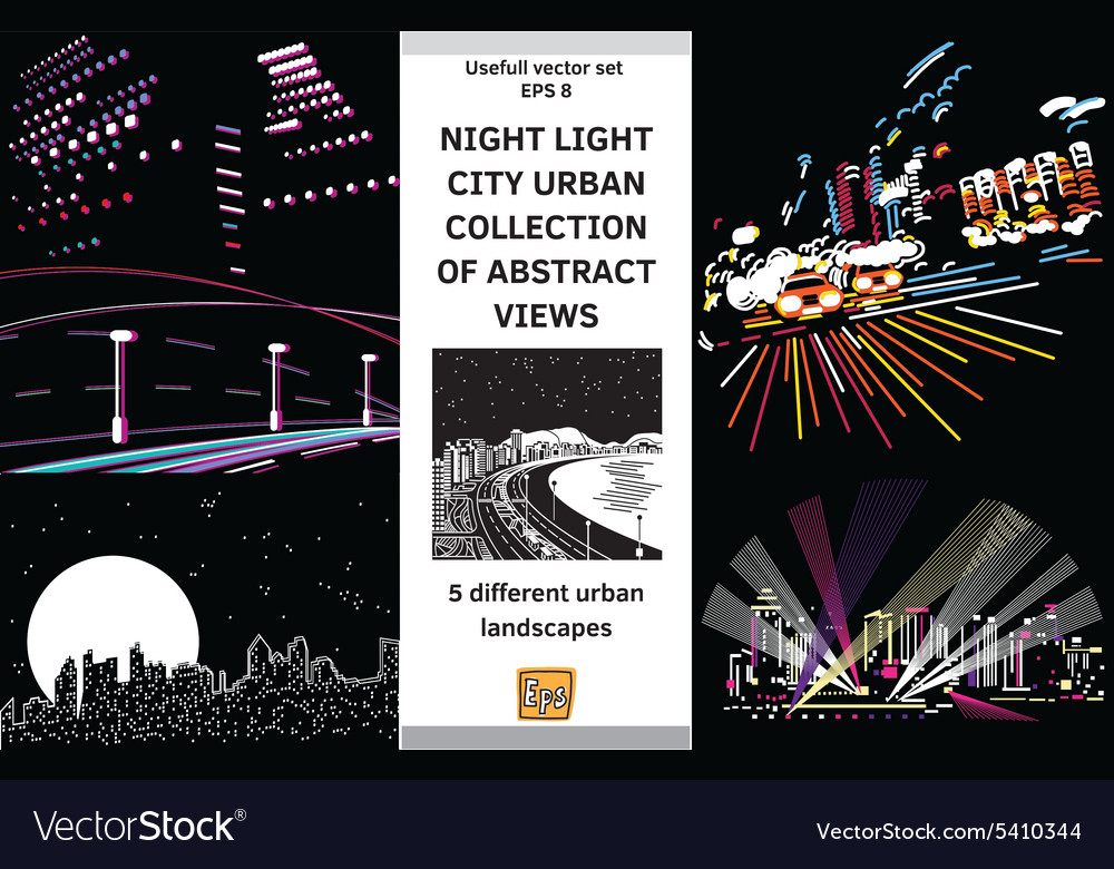 Night light landscapes city views set vector