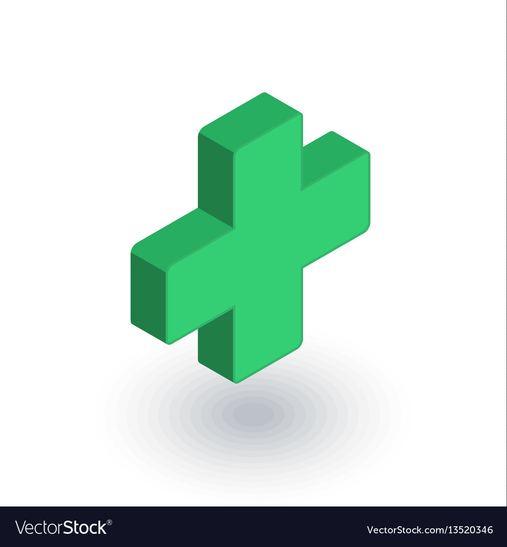 First aid pharmacy medical cross isometric flat vector