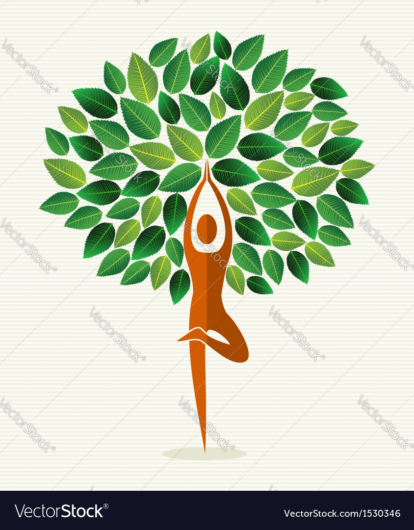 India yoga leaf tree vector