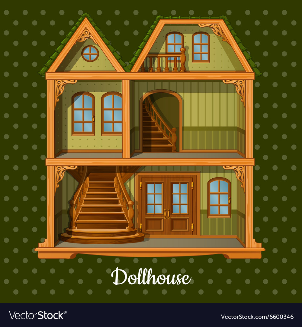 Modern threestorey dolls house vector