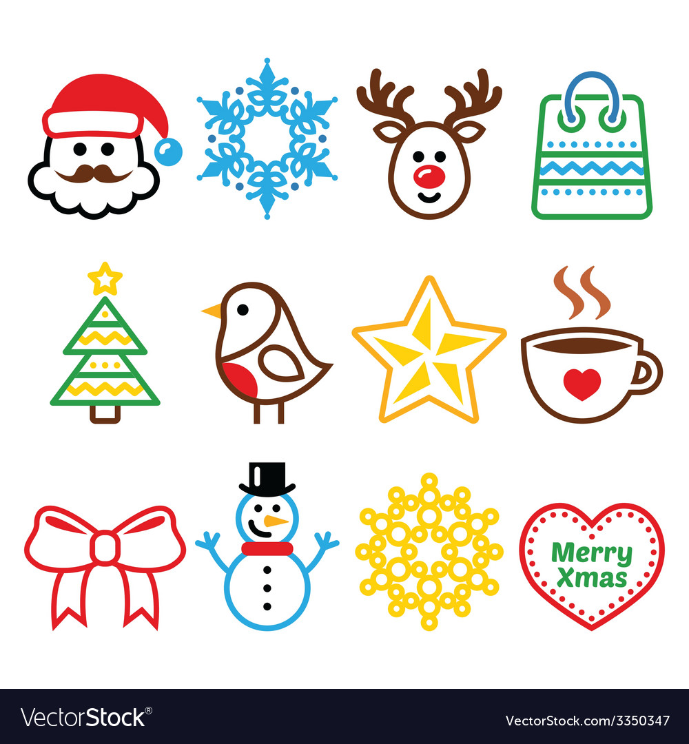Christmas winter icons set  santa claus snowman vector