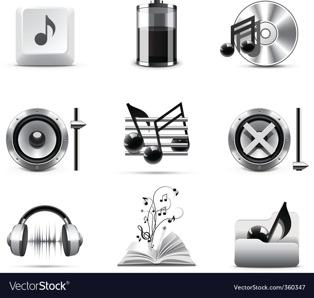 Music icons  bw series vector