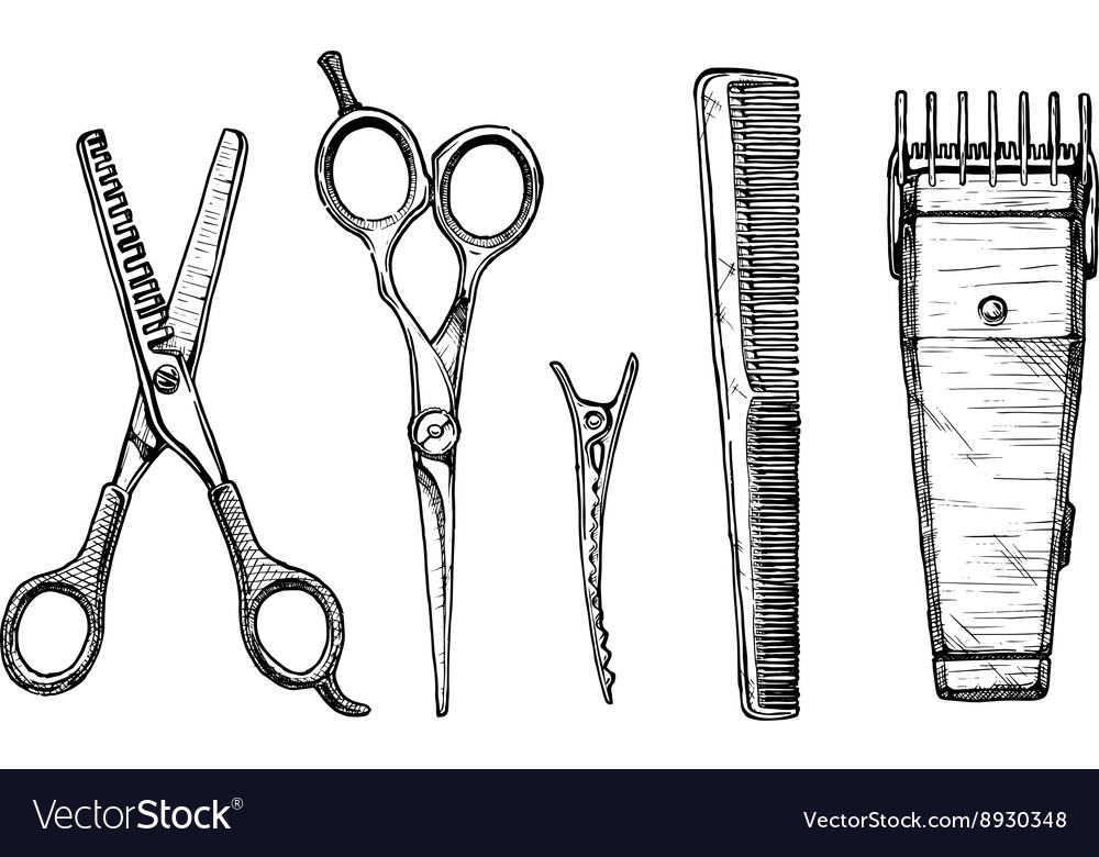 Set of hairdressers tools vector