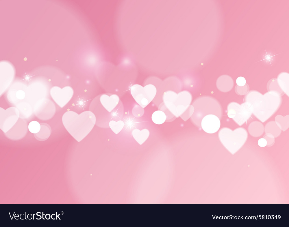 Love abstract background with hearts and bokeh vector