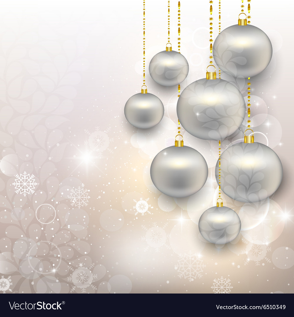 Painted silver christmas toys on abstract snowy vector