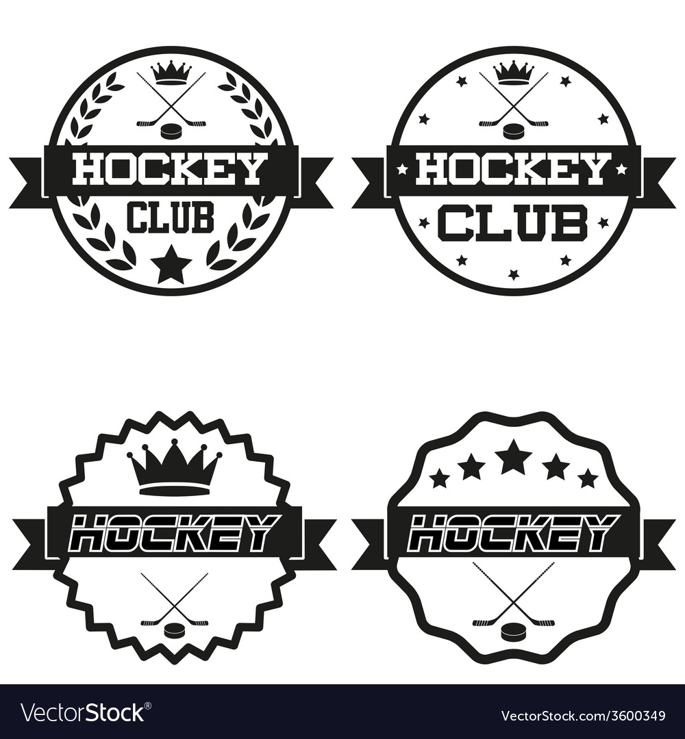 Set of vintage ice hockey club badge and label vector