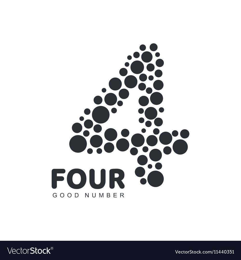 Black and white number four logo template made of vector