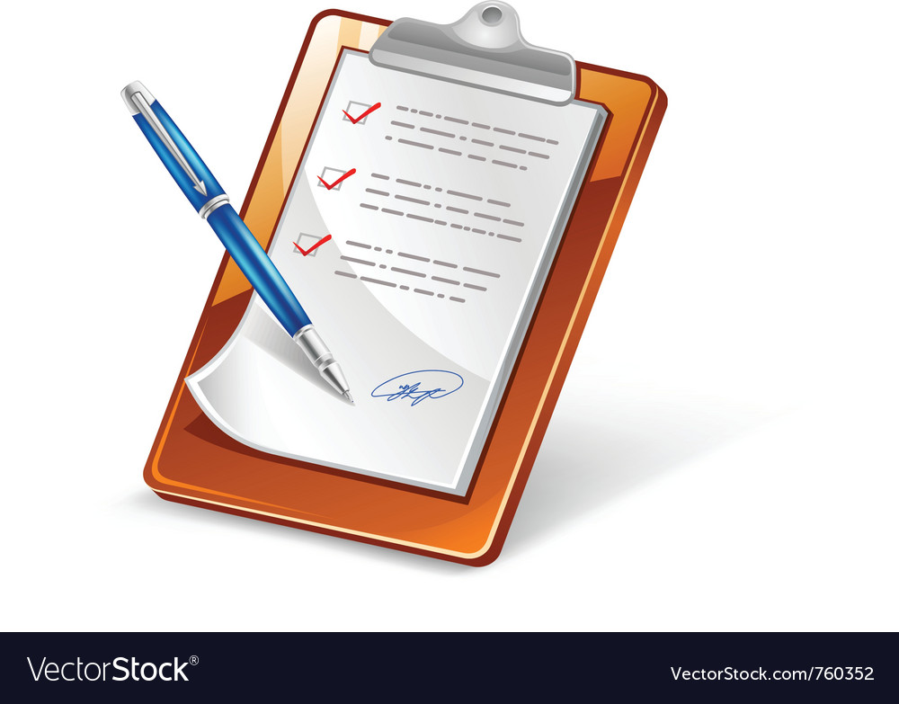 Clipboard with pen vector