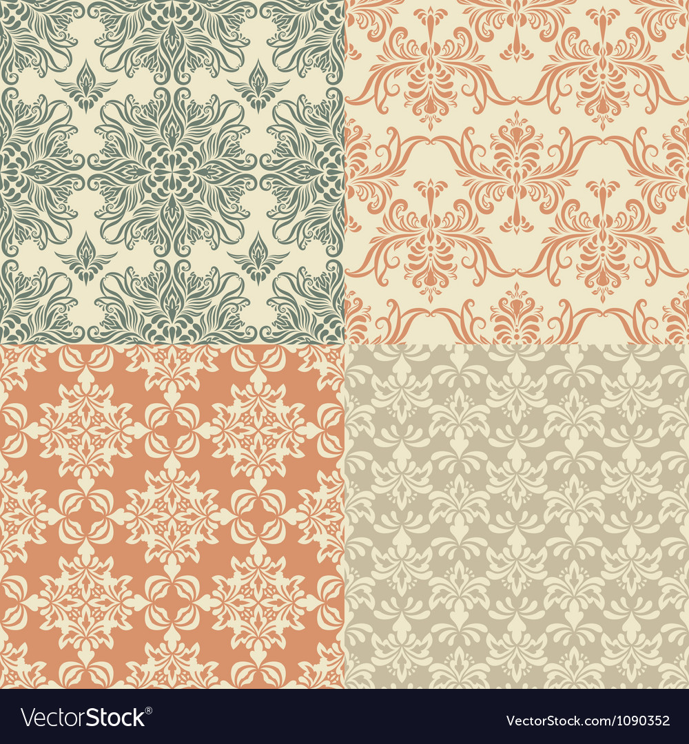 Seamless vintage wallpaper patterns vector