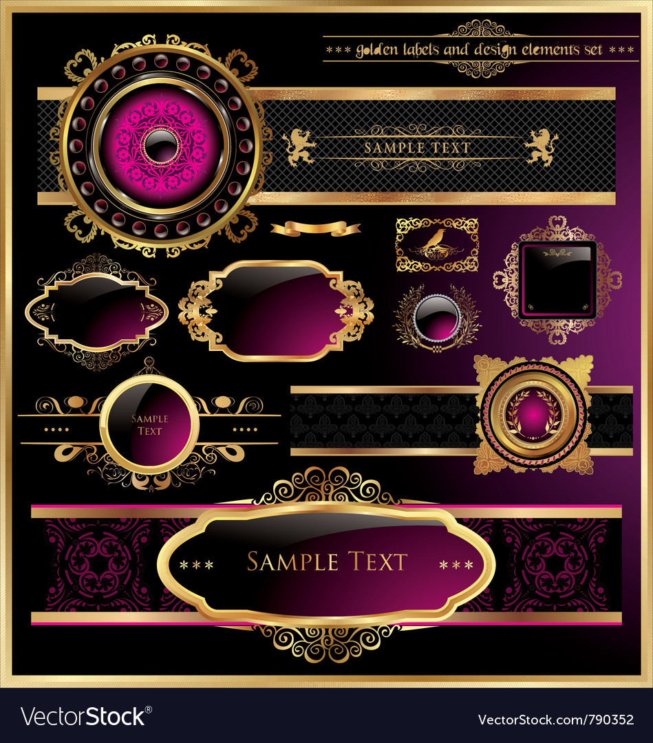 Vintage black gold and pink frame label vector