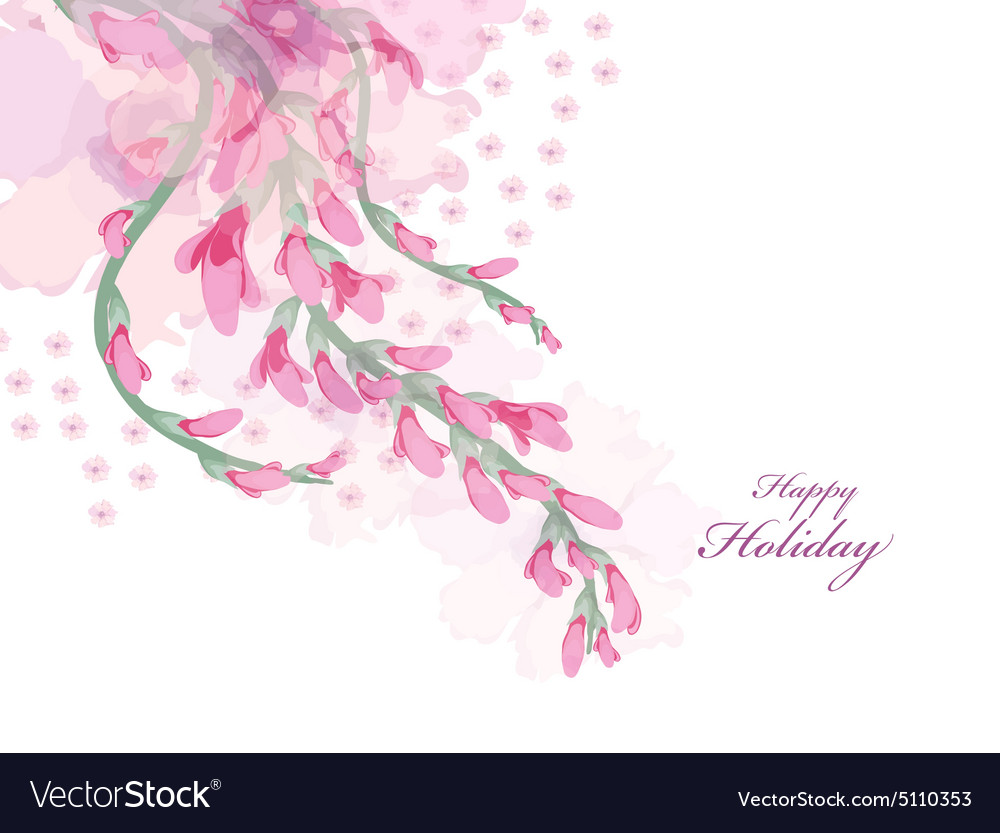 Watercolor flowers pink wisteria card vector