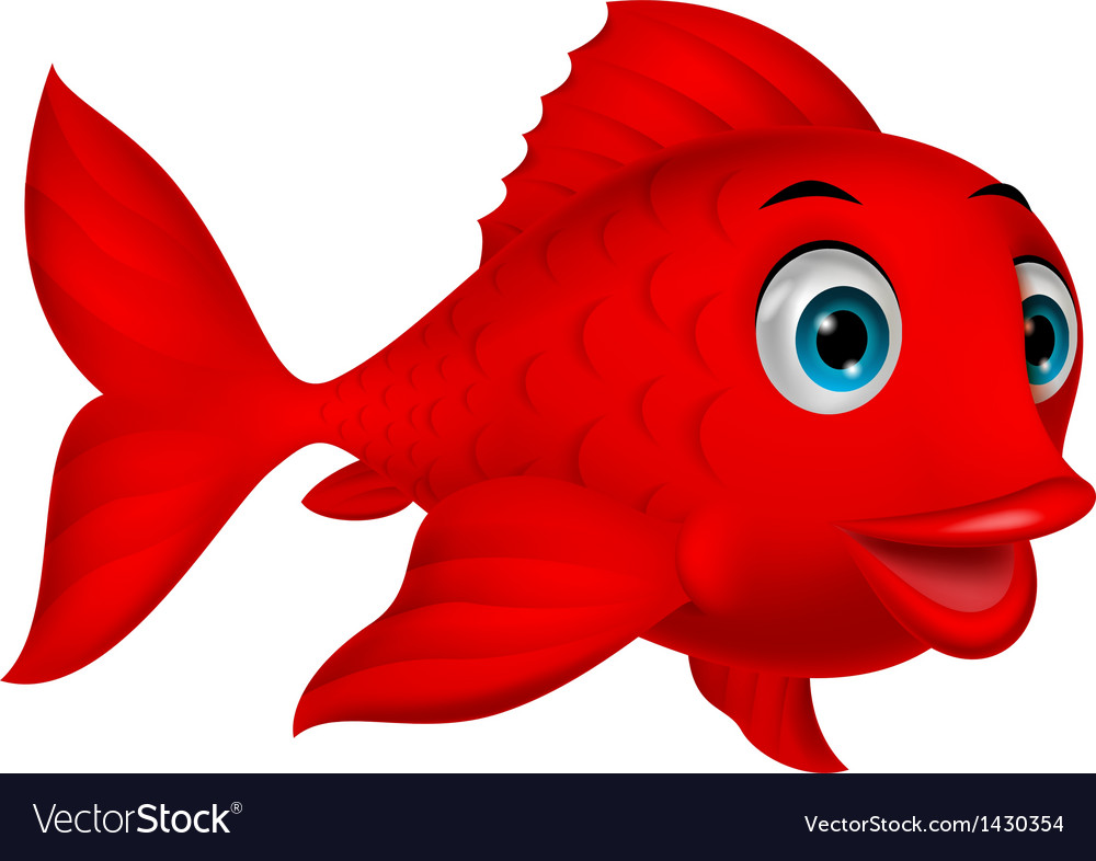Cute red fish cartoon vector