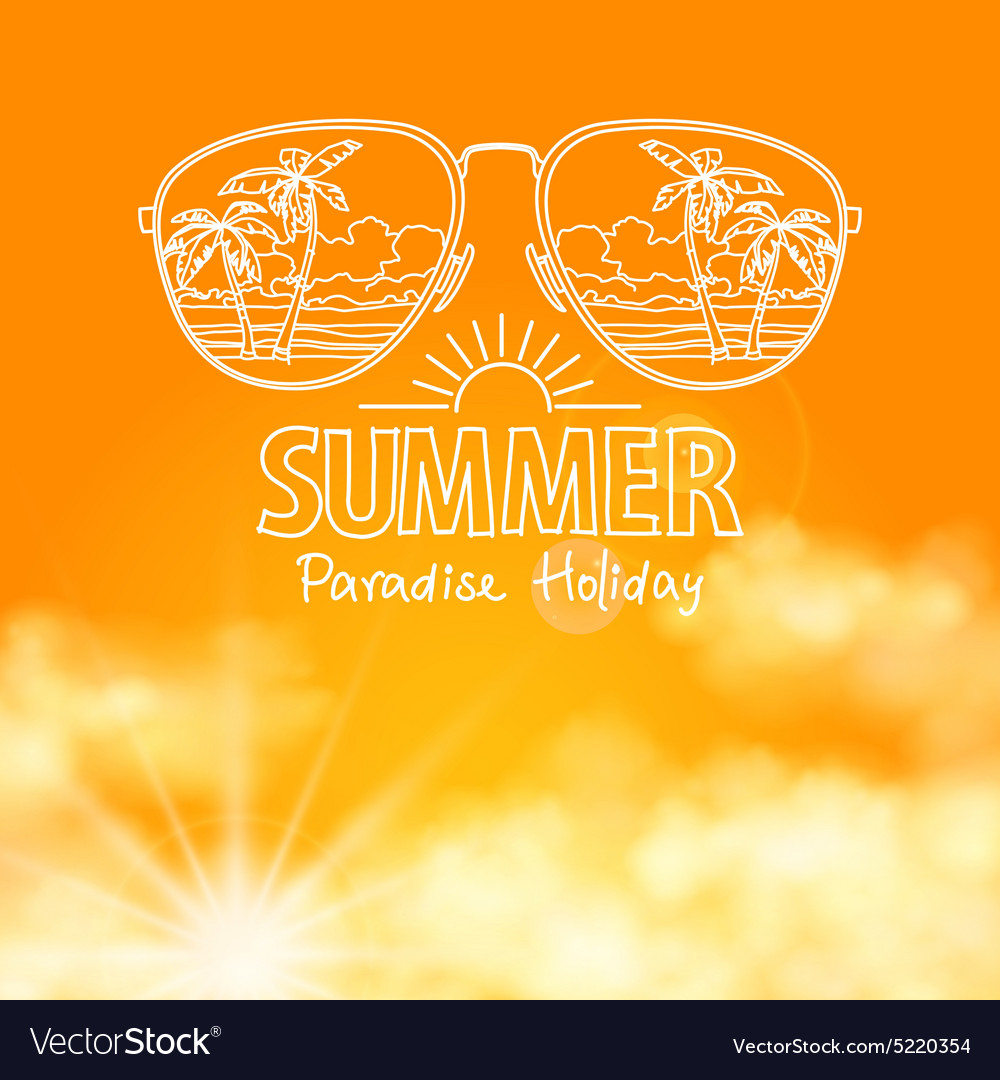 Reflection of the beach in sunglasses sunny orange vector